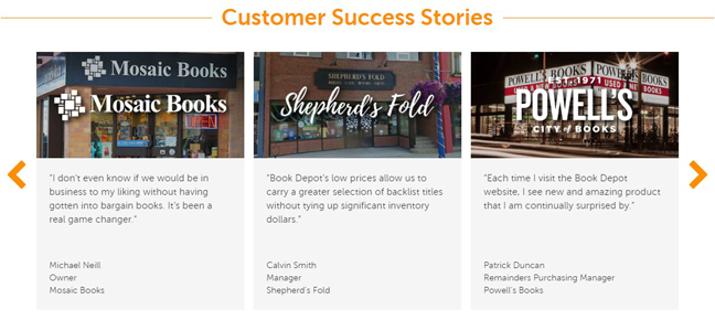 Book Depot Homepage Redesign - Customer Success Stories