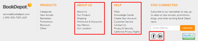 Book Depot Homepage Redesign - Footer