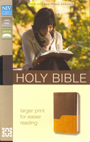 NIV Holy Bible (Large Print, Chocolate/Amber Leathersoft)
