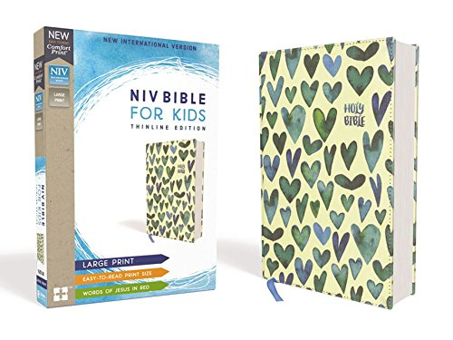 NIV Thinline, Large Print, Bible for Kids (Turquoise Hearts, Cloth Over Board)