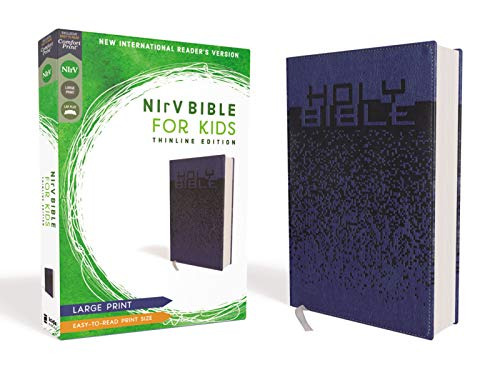 NIrV, Large Comfort Print Thinline Bible for Kids (Blue Leathersoft)
