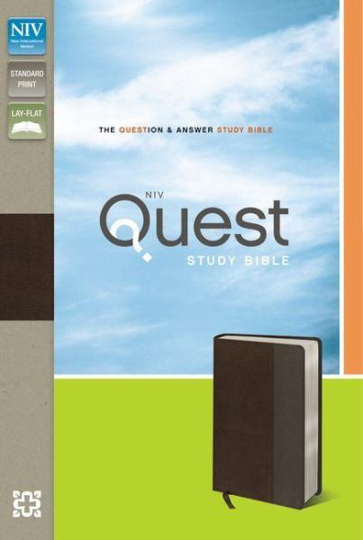 NIV Quest Study Bible (NIV, Brown/Gray Italian Duo-Tone, Gilded-Silver Page Edges)