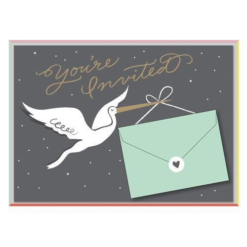 Cheree Berry Stork Stops Here Baby Shower Invite Notecards